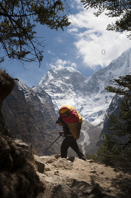 Tengboche, Khumbu, Nepal - April 8, 2009: A porter makes the long hard way up to Everest base camp carrying supplies in a traditional bamboo basket called a Doko with the massive peak of Kantega visible in the distance