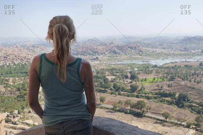 The bolder strewn landscape surrounding Hampi seen from Monkey temple