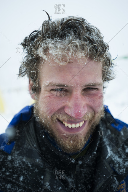 A mountaineer returns to base camp after successfully climbing Everest