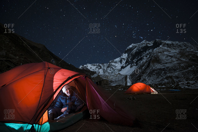 Enjoying the clear night sky view from a tent at Samdo on the Manaslu circuit trek
