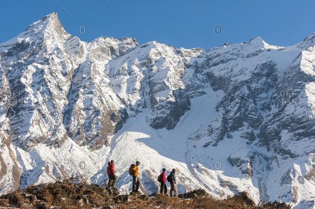 Trekkers approach Manaslu base camp in the Manaslu region of Nepal