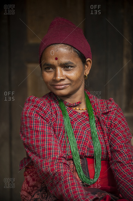 A Gorkha woman wearing traditional Nepali dress in the Manaslu region