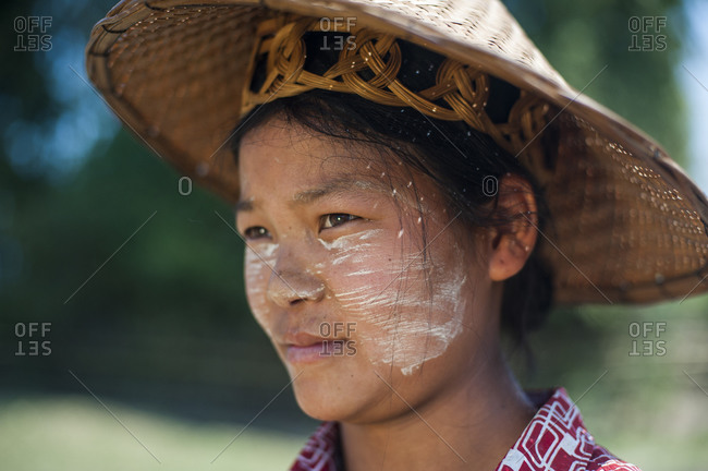 Thanaka cream, ground from tree bark, has been used in Burma for thousands of years. It also acts as protection from the sun