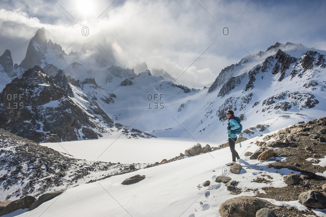 Trekking in El Chalten National Park with views over Laguna Sucia of Mt Fitzroy and Cerro Torre in Patagonia in Argentina