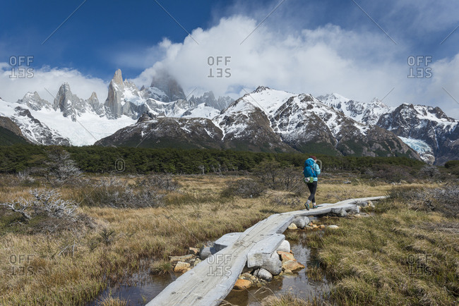 Trekking in El Chalten National Park with views of Mt Fitzroy in Patagonia in Argentina