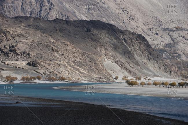 The crystal clear Shyok river in the Khapalu valley near Skardu