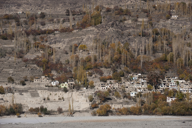 A small village in the Khapalu Valley near Skardu in the Pakistan Himalayas