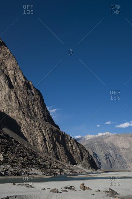 Dramatic rock faces in the Khapalu valley near Skardu