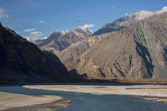 The crystal clear Shyok river in the Khapalu valley near Skardu in Pakistan