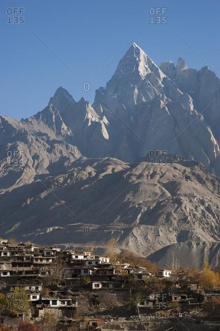 Typical spiky Karakoram peaks above Merchulu in the Hushe valley