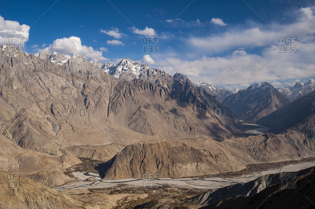 Spiky Karakoram peaks seen here from above Merchulu in the Hushe valley in northern Pakistan