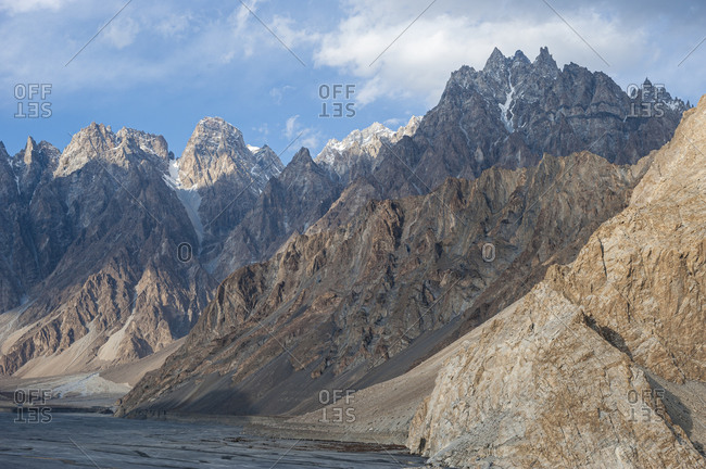 Jagged Karakoram peaks in the Hunza valley near Passu