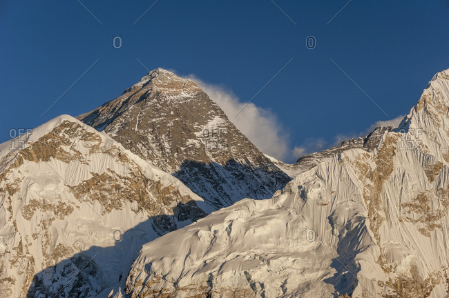 The massive black pyramid summit of Everest seen from Kala Patar