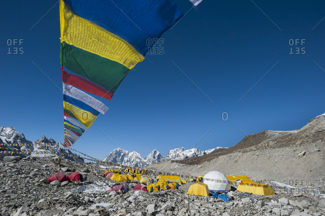 Prayer flags adorn Everest base camp