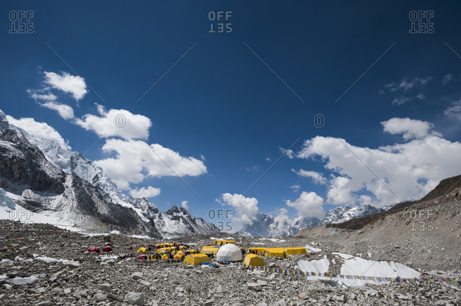 Everest base camp is a temporary city at 5500m on the Khumbu glacier