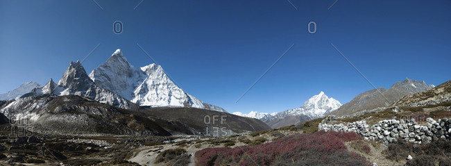 Ama Dablam known as Mother Jewel, seen here from the Chekhung valley. Taboche is also visible to the right