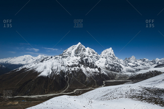 Taboche and Cholatse peaks from Nagarsang viewpoint above Dingboche in Everest region
