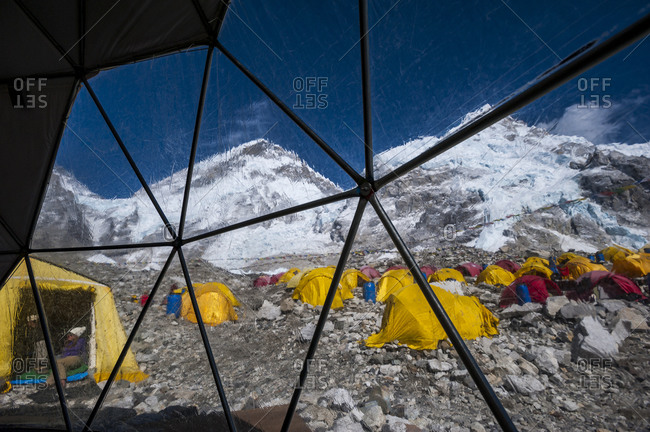 View out to Everest base camp from inside the White Pod