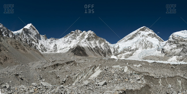 Looking towards Nuptse and the Khumbu icefall from the Khumbu glacier in the Nepalese Himalayas