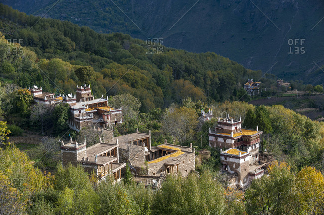 Drying Maize, or corn, on rooftops of traditional Tibetan houses at Jiaju Zangzhai in Sichuan Province in China