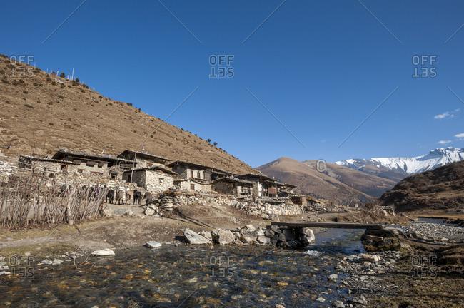 The little village of Chebisa on the Snowman trekking route in Bhutan