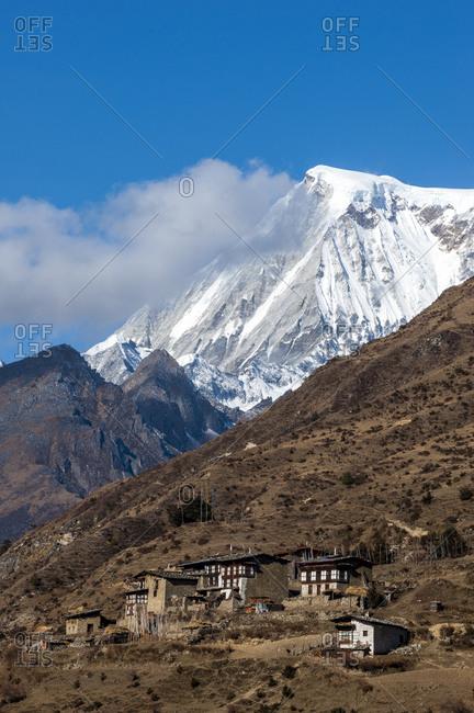 The beautiful village of Laya in the Himalayas in Bhutan