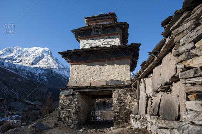 An old Buddhist Kani at Samogaon on the Manaslu circuit trek in Nepal