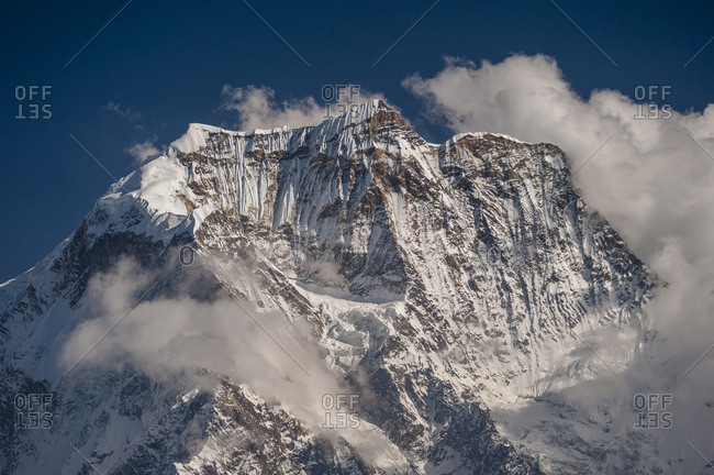 View from the trail leading to the Larke La Pass on the Manaslu trek