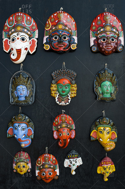 Painted face masks on display in the ancient Newar city of Bhaktapur