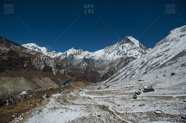 Machhapuchhare better known as the 'Fishtail' mountain by moonlight (full moon)
