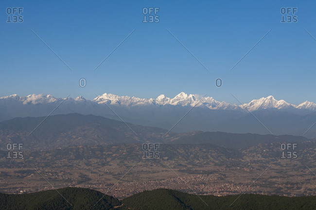 The entire Kathmandu valley and city with a backdrop of the Himalayas