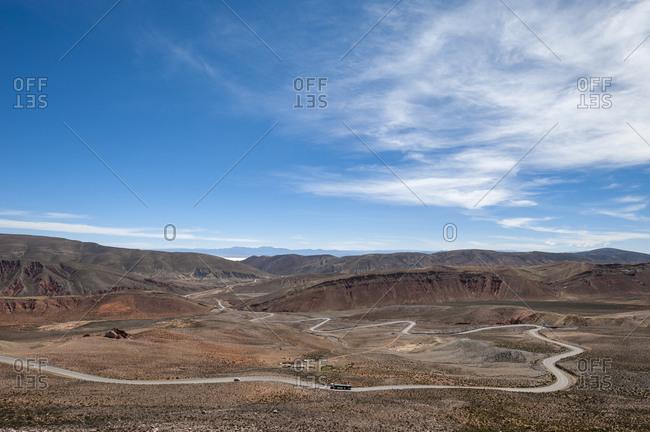 Road leading towards the Salinas Grandes (salt flats) near Purmamarca