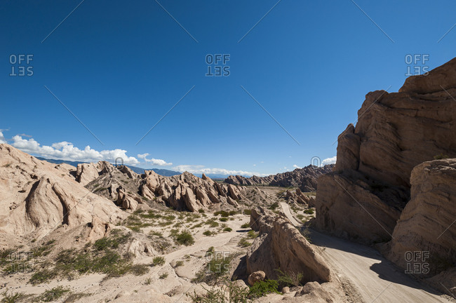Road passing through dramatic rock formations of Calchaqui valleys