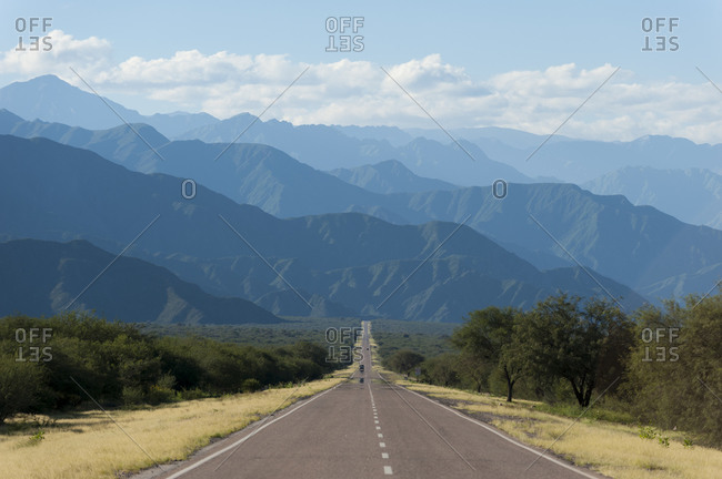 A long straight part of Route 40 in the Mendoza region of Argentina