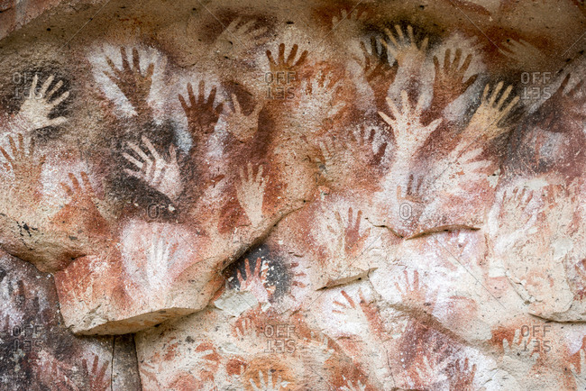 Cueva de las Manos or Cave of the Hands in Patagonia in Argentina. The art in the cave dates from 13,000 to 9,000 years ago.