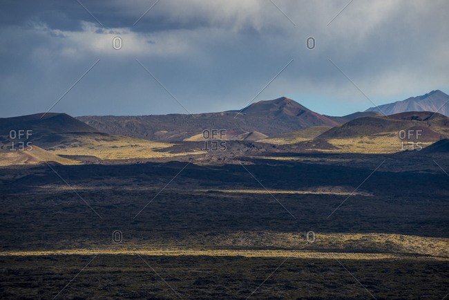 Volcanic landscape in Payunia seen from Route 40 in Argentina between Malargue and Mendoza