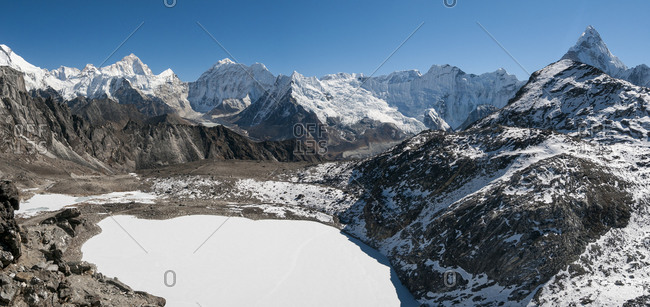The view from the top of the Kongma La along the three passes trekking route in the Everest region of Nepal