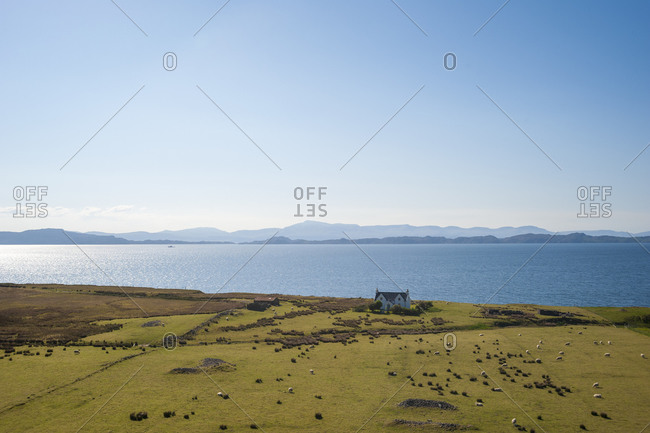 The view across to the Isle of Raasay and the isle of Skye from a farmhouse near Applecross Bay.