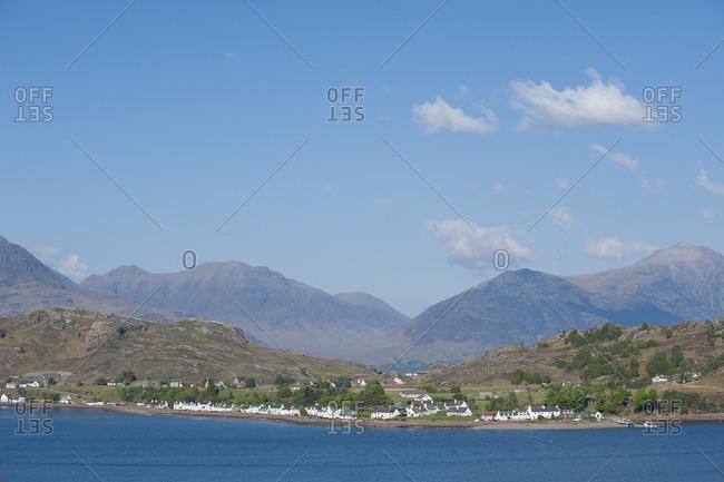 The little village of Shieldaig seen looking across Loch Torridon