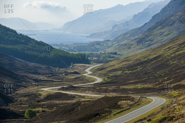 Glen Docherty Viewpoint. Road from Sheildaig on the west coast of Scotland