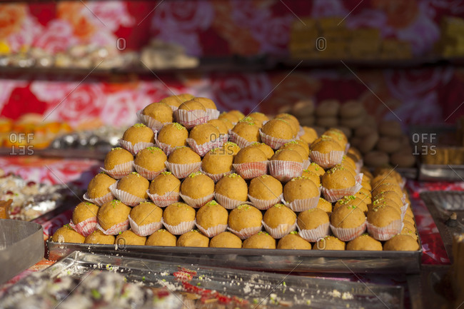 Indian sweets in a market in Nepal during the festival of Diwali