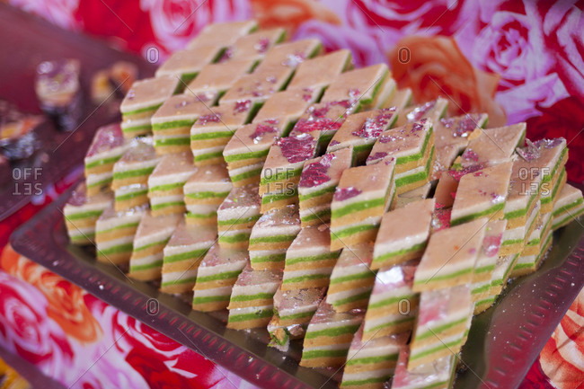 A tray of Indian sweets in a market in Nepal during the festival of Diwali
