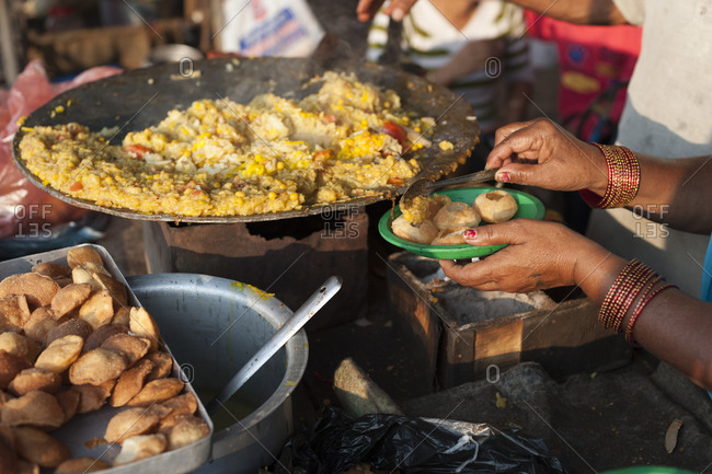 Street food in Nepal, close up
