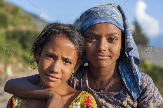 Two girls from a rural village in western Nepal