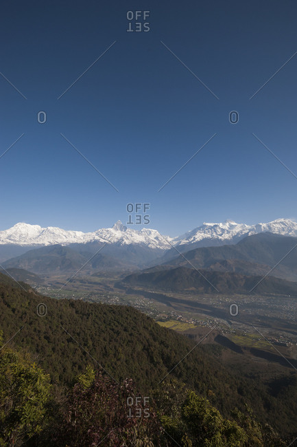 The spectacular view of the Annapurna range from Sarangkot in Nepal