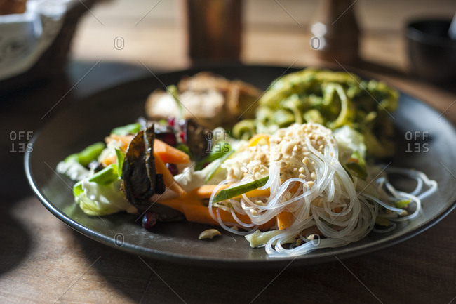 Rice noodles dish at a resort in Nepal