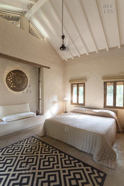 Safari lodge interior bedroom in Bardia National Park in Nepal