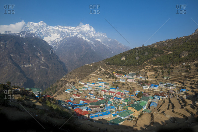 Looking south towards Kongde peak, Namche on the way to Everest Base Camp is the biggest village in the Khumbu region of Nepal