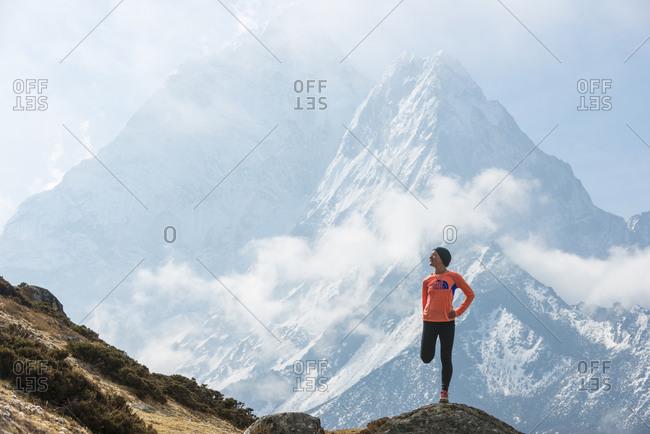 Dingboche, Khumbu, Nepal - April 17, 2013: Lizzy Hawker, the 100km world champion competing in the Everest Base Camp to Kathmandu Mailrun