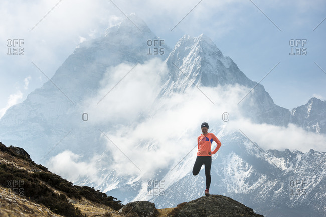 Dingboche, Khumbu, Everest region, Nepal - April 17, 2013: Lizzy Hawker the 100km world champion competing in the Everest Base Camp to Kathmandu Mailrun